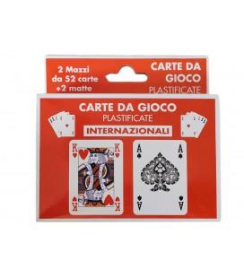 2 Mazzi Carte da Gioco Poker Plastificate Colore Blu Rosso Internazionali