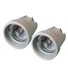 2 PZ Portalampade E27 in Ceramica Porcellana Con Viti Per Fili Elettrici e Gancio in Ferro Da Appendere Per Uso Cantieri