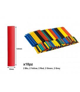 10 Pezzi Guaine Termorestringente Misura 10X120mm Colori Misti Assortiti
