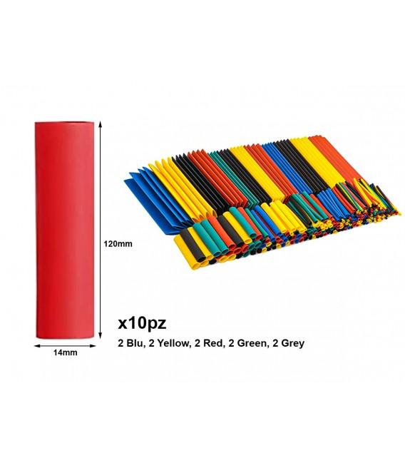 10 Pezzi Guaine Termorestringente Misura 14X120mm Colori Misti Assortiti