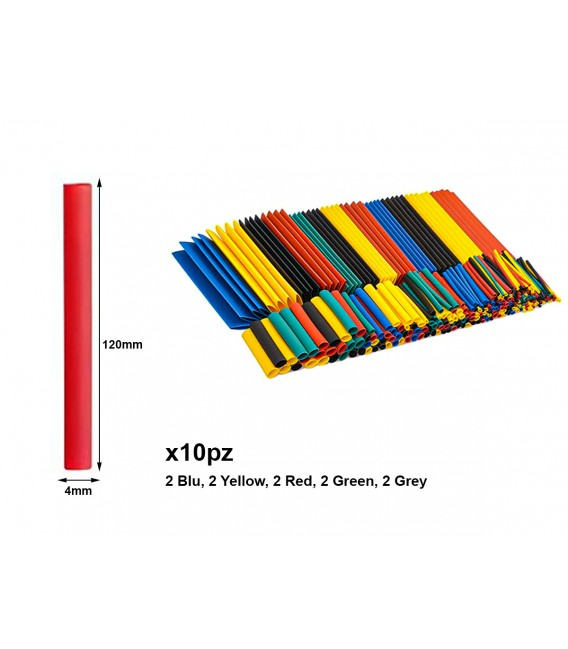 10 Pezzi Guaine Termorestringente Misura 4X120mm Colori Misti Assortiti