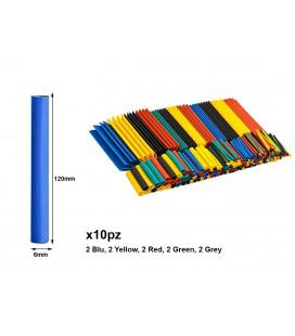 10 Pezzi Guaine Termorestringente Misura 6X120mm Colori Misti Assortiti