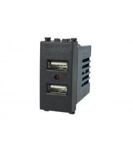 SANDASDON Modulo Caricatore 2 Porte USB 5V 2,1A Nero Compatibile Vimar Arke