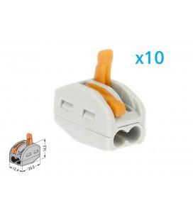 10 Morsetti A Molla Con 2 Leve Connettori Terminali Conduttore Per Cavi Fili Elettrici Riutilizabile Installazione Rapido Precis